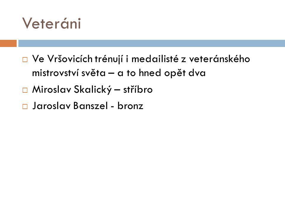Veteráni  Ve Vršovicích trénují i medailisté z veteránského mistrovství světa – a to hned opět dva  Miroslav Skalický – stříbro  Jaroslav Banszel -