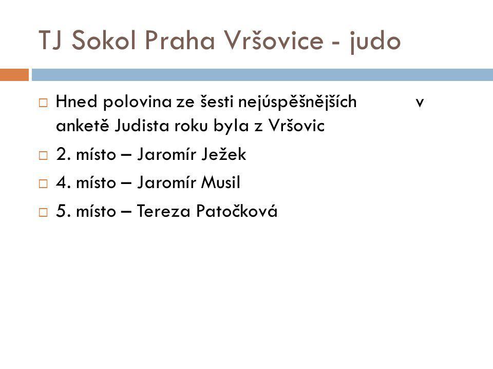 TJ Sokol Praha Vršovice - judo  Hned polovina ze šesti nejúspěšnějších v anketě Judista roku byla z Vršovic  2. místo – Jaromír Ježek  4. místo – J