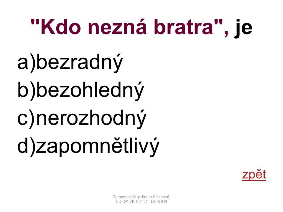 Kdo nezná bratra , je a)bezradný b)bezohledný c)nerozhodný d)zapomnětlivý zpět Zpracovala Mgr.Jindra Chejnová, EU-OP VK-III/2 ICT DUM 314