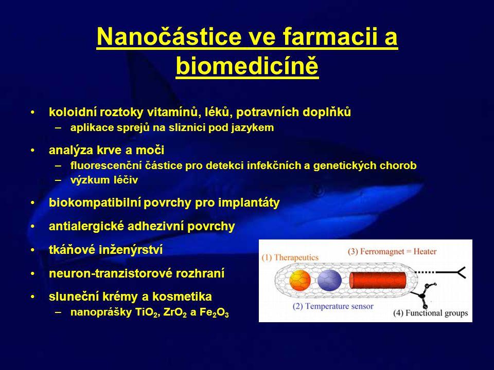 Toxikologie nanočástic (experimentální toxikologie) při stejné dávce mají NSPs vyšší schopnost vyvolat zánětlivou reakci než částice větších rozměrů – vliv povrchu – TiO 2 (anatas) 20 a 250 nm – intratracheální aplikace – potkan –po 24 h měřena plicní zánětlivá neutrofilní reakce –pro částice stejného složení a různého povrchu je lepší mírou dávky celkový povrch částic, než jejich hmotnost či počet
