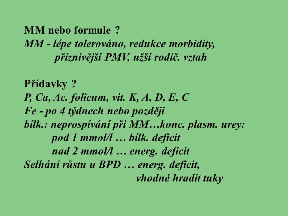 MM nebo formule ? MM - lépe tolerováno, redukce morbidity, příznivější PMV, užší rodič. vztah Přídavky ? P, Ca, Ac. folicum, vit. K, A, D, E, C Fe - p