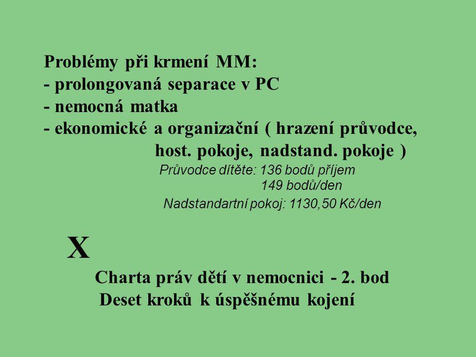 Problémy při krmení MM: - prolongovaná separace v PC - nemocná matka - ekonomické a organizační ( hrazení průvodce, host. pokoje, nadstand. pokoje ) X