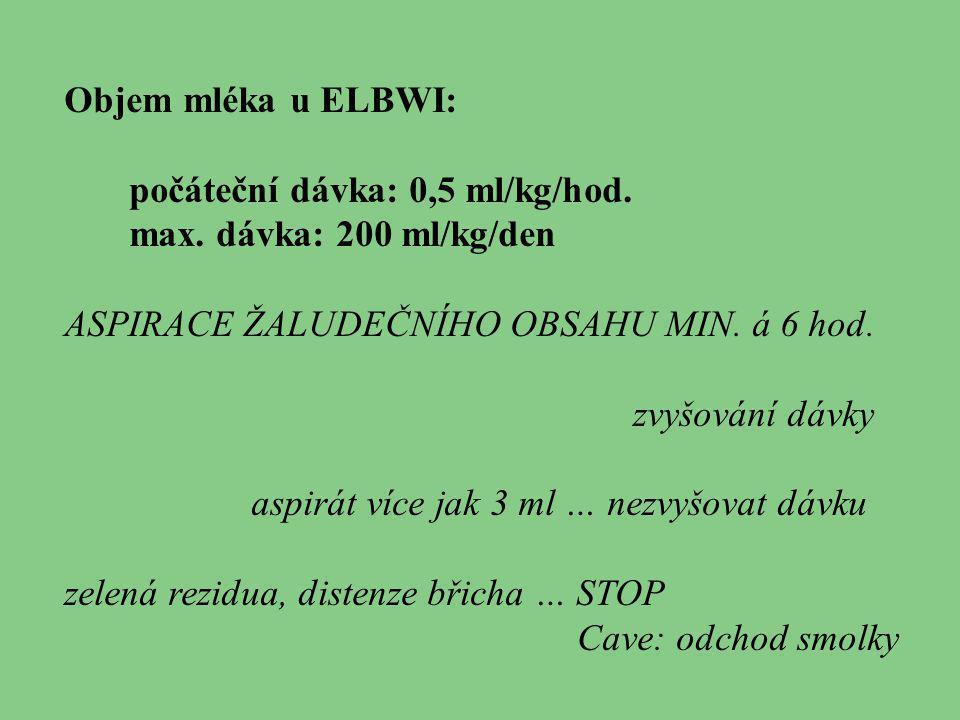 Objem mléka u ELBWI: počáteční dávka: 0,5 ml/kg/hod. max. dávka: 200 ml/kg/den ASPIRACE ŽALUDEČNÍHO OBSAHU MIN. á 6 hod. zvyšování dávky aspirát více