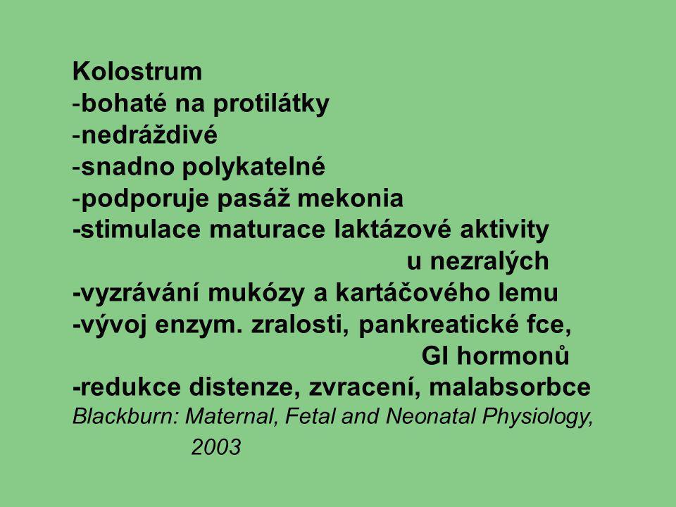 Kolostrum -bohaté na protilátky -nedráždivé -snadno polykatelné -podporuje pasáž mekonia -stimulace maturace laktázové aktivity u nezralých -vyzrávání