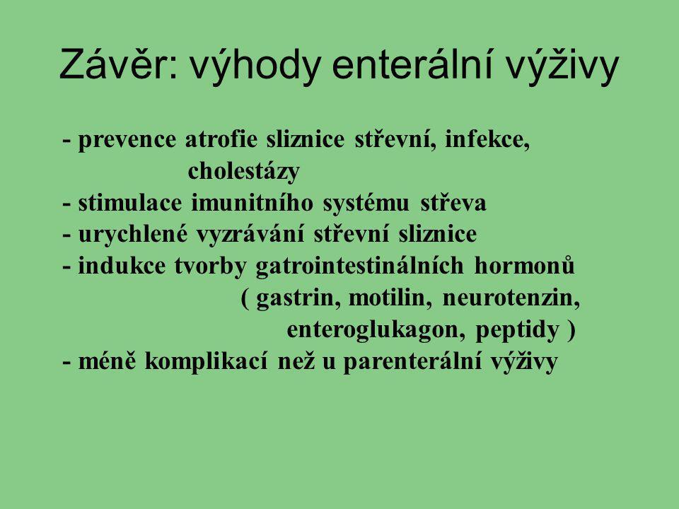 Závěr: výhody enterální výživy - prevence atrofie sliznice střevní, infekce, cholestázy - stimulace imunitního systému střeva - urychlené vyzrávání st