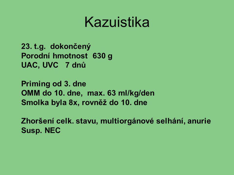 Kazuistika 23. t.g. dokončený Porodní hmotnost 630 g UAC, UVC 7 dnů Priming od 3. dne OMM do 10. dne, max. 63 ml/kg/den Smolka byla 8x, rovněž do 10.