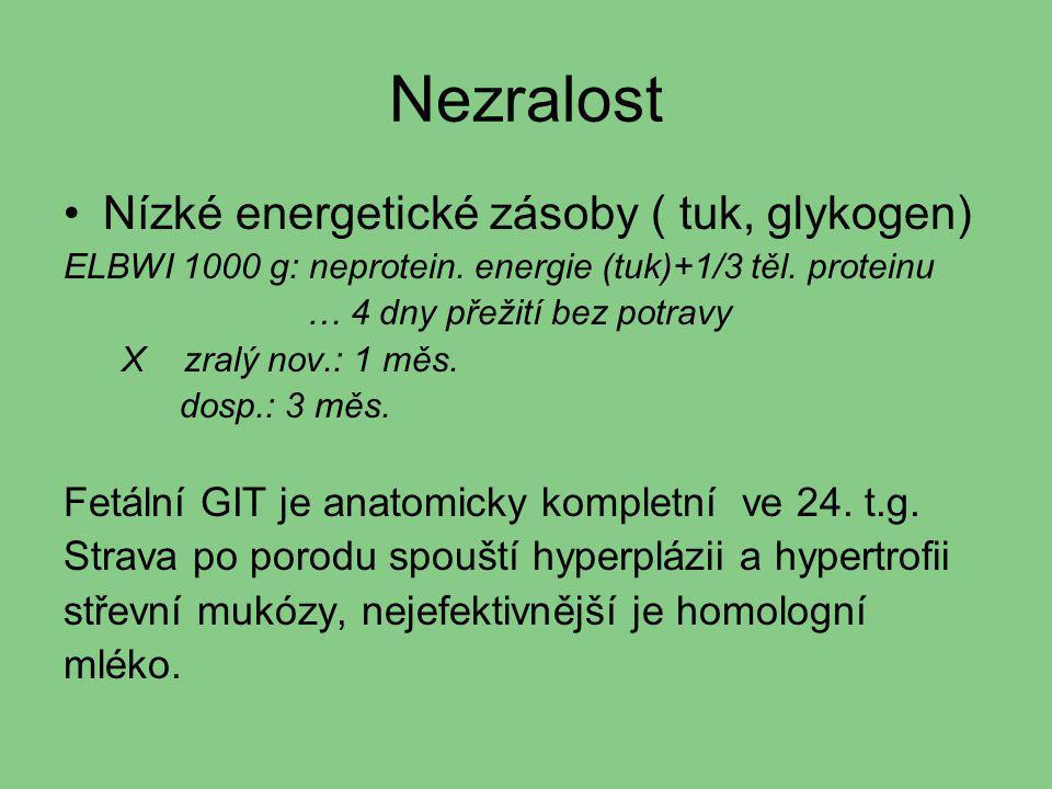 Nezralost Nízké energetické zásoby ( tuk, glykogen) ELBWI 1000 g: neprotein. energie (tuk)+1/3 těl. proteinu … 4 dny přežití bez potravy X zralý nov.:
