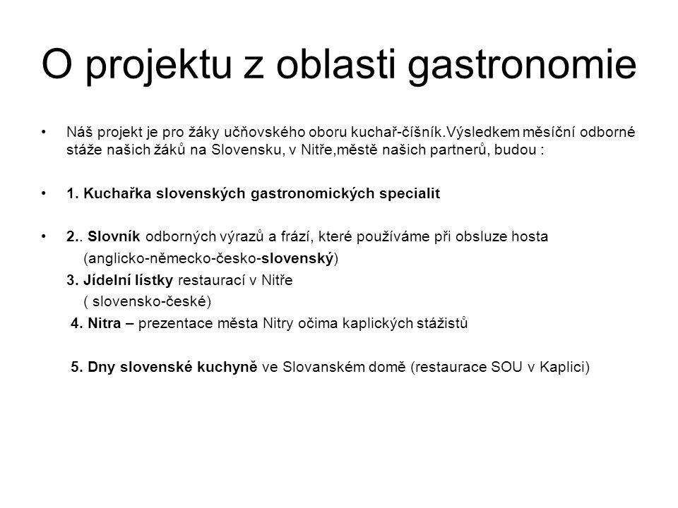 O projektu z oblasti gastronomie Náš projekt je pro žáky učňovského oboru kuchař-číšník.Výsledkem měsíční odborné stáže našich žáků na Slovensku, v Nitře,městě našich partnerů, budou : 1.
