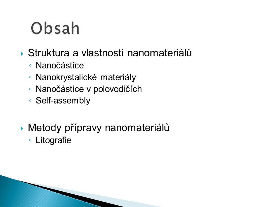  Struktura a vlastnosti nanomateriálů ◦ Nanočástice ◦ Nanokrystalické materiály ◦ Nanočástice v polovodičích ◦ Self-assembly  Metody přípravy nanomateriálů ◦ Litografie