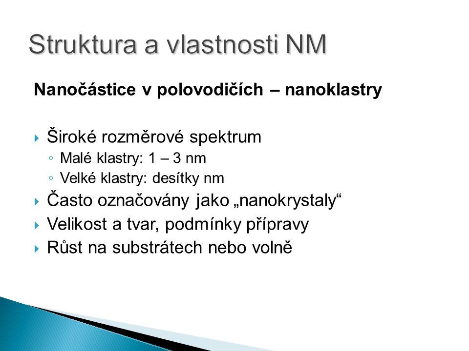 "Nanočástice v polovodičích – nanoklastry  Široké rozměrové spektrum ◦ Malé klastry: 1 – 3 nm ◦ Velké klastry: desítky nm  Často označovány jako ""nan"