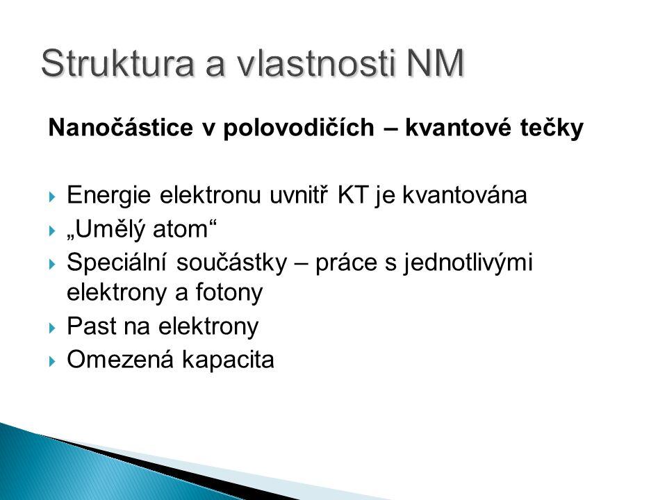 """Nanočástice v polovodičích – kvantové tečky  Energie elektronu uvnitř KT je kvantována  """"Umělý atom  Speciální součástky – práce s jednotlivými elektrony a fotony  Past na elektrony  Omezená kapacita"""