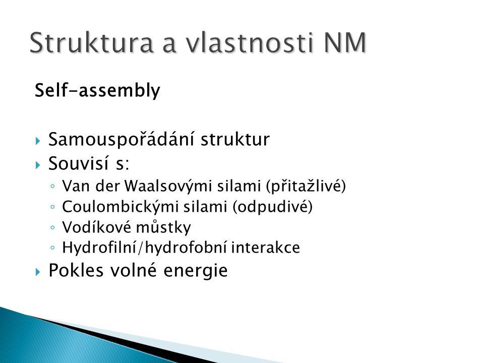 Self-assembly  Samouspořádání struktur  Souvisí s: ◦ Van der Waalsovými silami (přitažlivé) ◦ Coulombickými silami (odpudivé) ◦ Vodíkové můstky ◦ Hydrofilní/hydrofobní interakce  Pokles volné energie