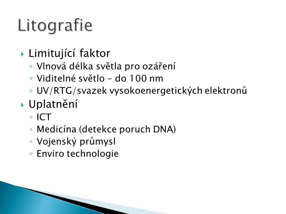  Limitující faktor ◦ Vlnová délka světla pro ozáření ◦ Viditelné světlo – do 100 nm ◦ UV/RTG/svazek vysokoenergetických elektronů  Uplatnění ◦ ICT ◦ Medicína (detekce poruch DNA) ◦ Vojenský průmysl ◦ Enviro technologie