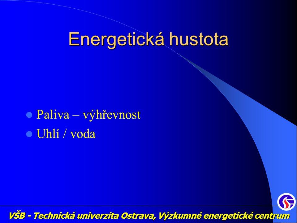 VŠB - Technická univerzita Ostrava, Výzkumné energetické centrum Energetická hustota Paliva – výhřevnost Uhlí / voda