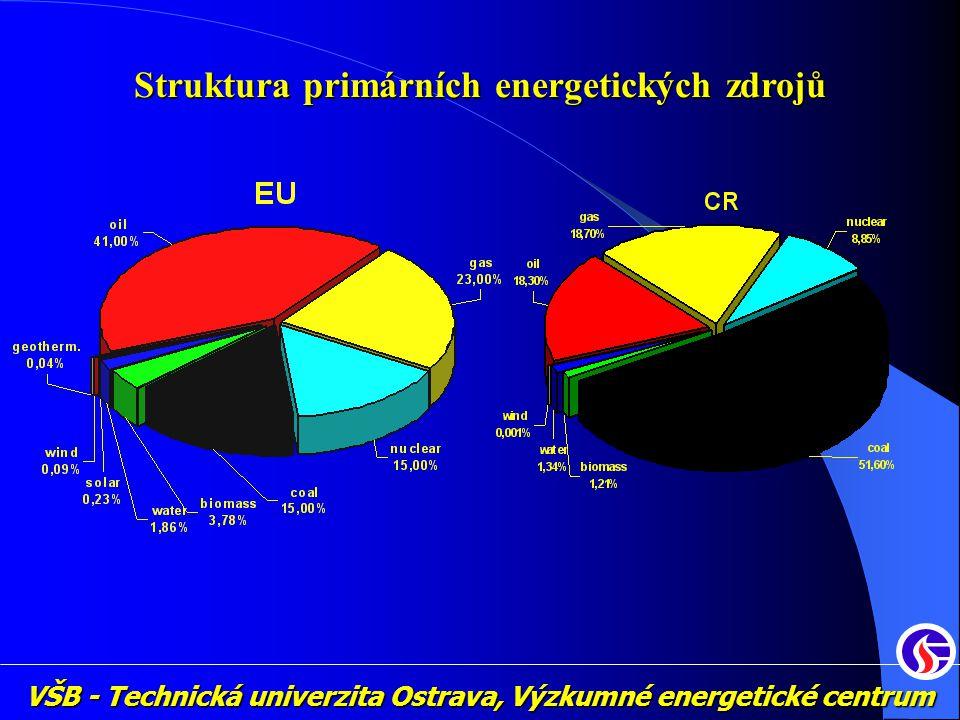 VŠB - Technická univerzita Ostrava, Výzkumné energetické centrum Struktura primárních energetických zdrojů