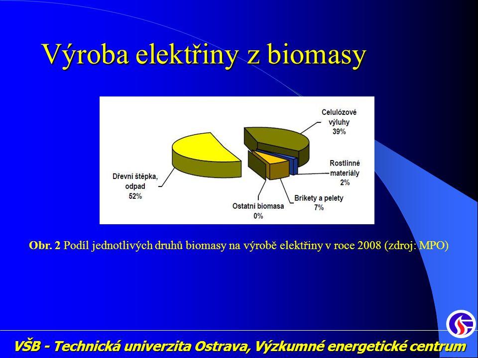 VŠB - Technická univerzita Ostrava, Výzkumné energetické centrum Výroba elektřiny z biomasy Obr. 2 Podíl jednotlivých druhů biomasy na výrobě elektřin