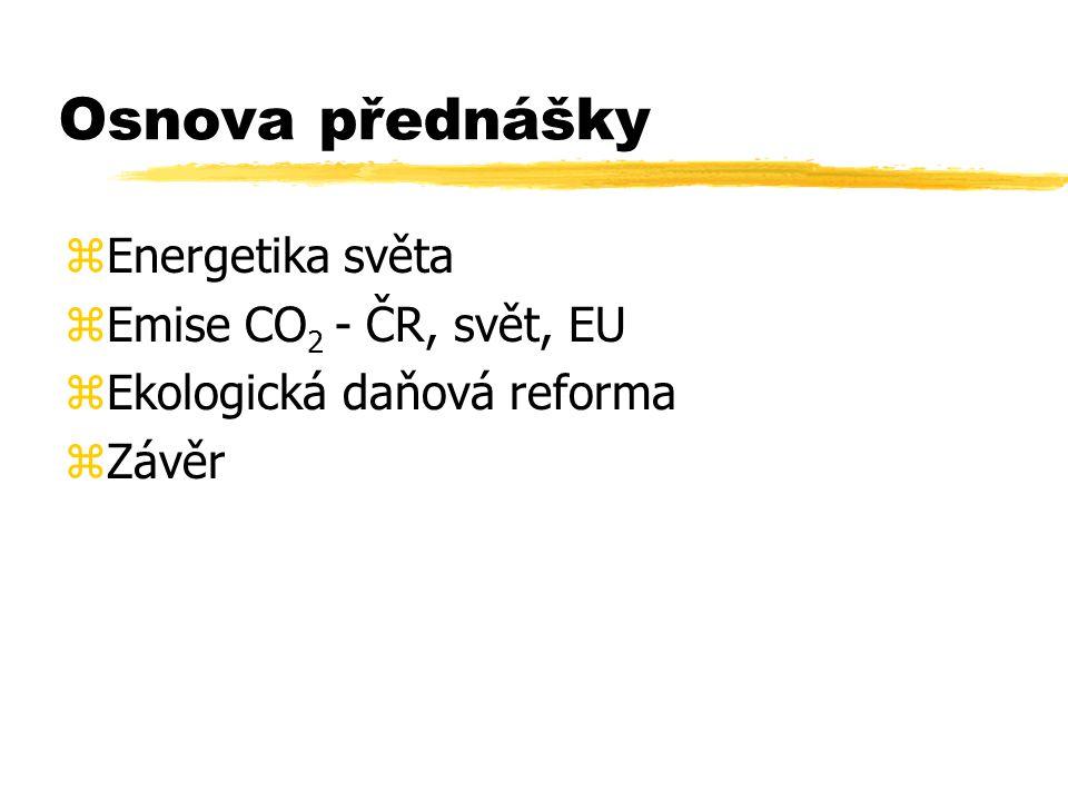 Osnova přednášky zEnergetika světa zEmise CO 2 - ČR, svět, EU zEkologická daňová reforma zZávěr