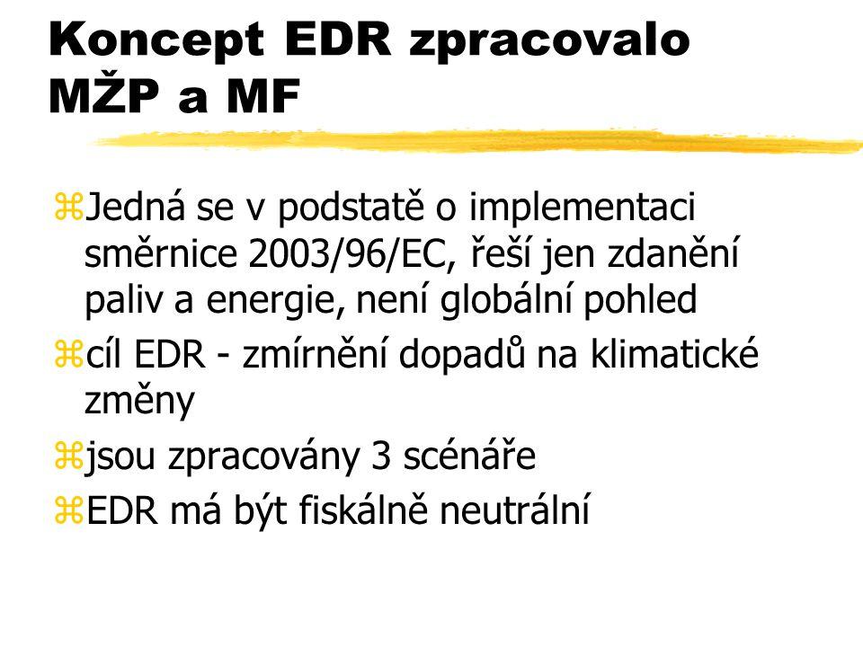 Koncept EDR zpracovalo MŽP a MF zJedná se v podstatě o implementaci směrnice 2003/96/EC, řeší jen zdanění paliv a energie, není globální pohled zcíl EDR - zmírnění dopadů na klimatické změny zjsou zpracovány 3 scénáře zEDR má být fiskálně neutrální