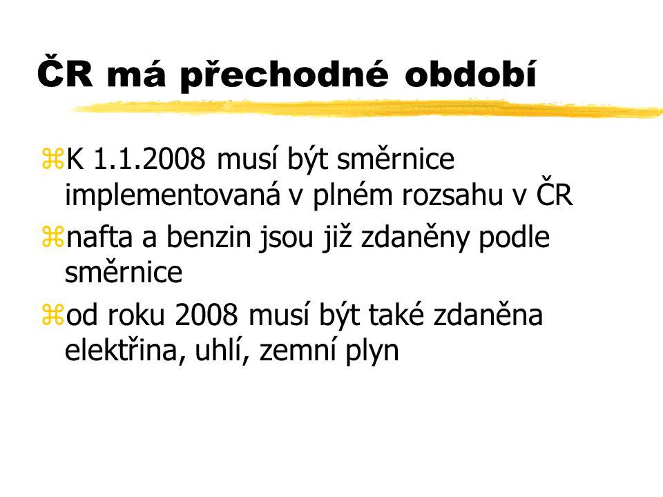 ČR má přechodné období zK 1.1.2008 musí být směrnice implementovaná v plném rozsahu v ČR znafta a benzin jsou již zdaněny podle směrnice zod roku 2008 musí být také zdaněna elektřina, uhlí, zemní plyn