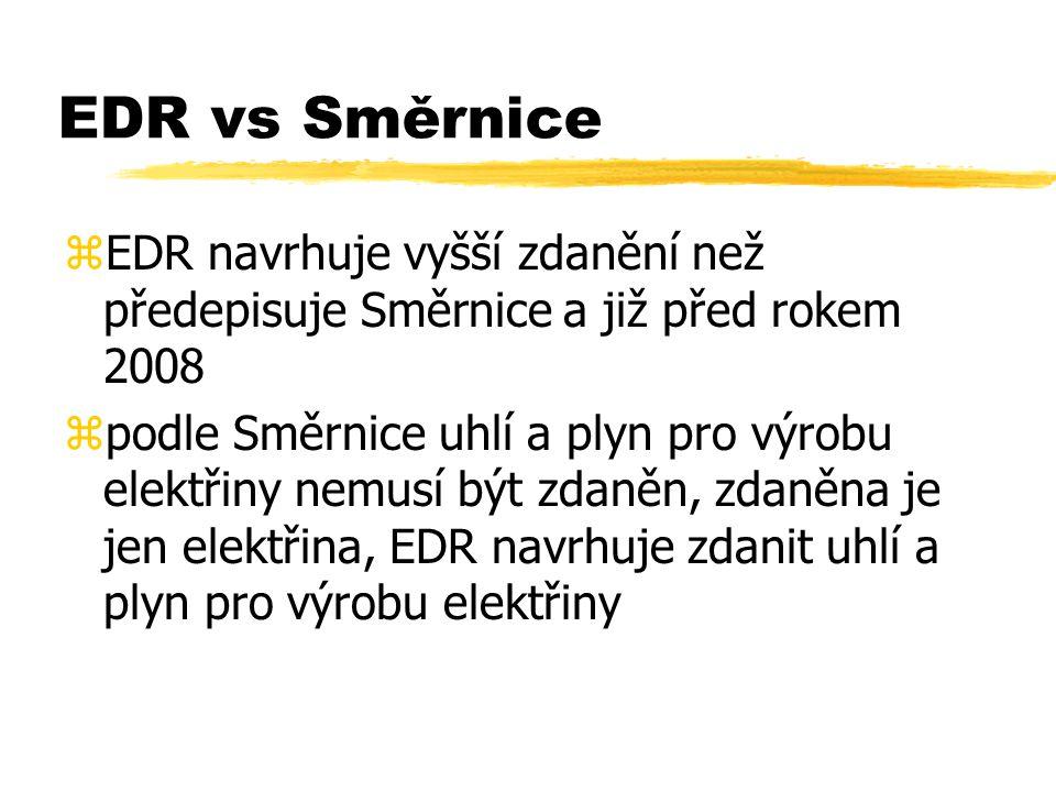 EDR vs Směrnice zEDR navrhuje vyšší zdanění než předepisuje Směrnice a již před rokem 2008 zpodle Směrnice uhlí a plyn pro výrobu elektřiny nemusí být zdaněn, zdaněna je jen elektřina, EDR navrhuje zdanit uhlí a plyn pro výrobu elektřiny
