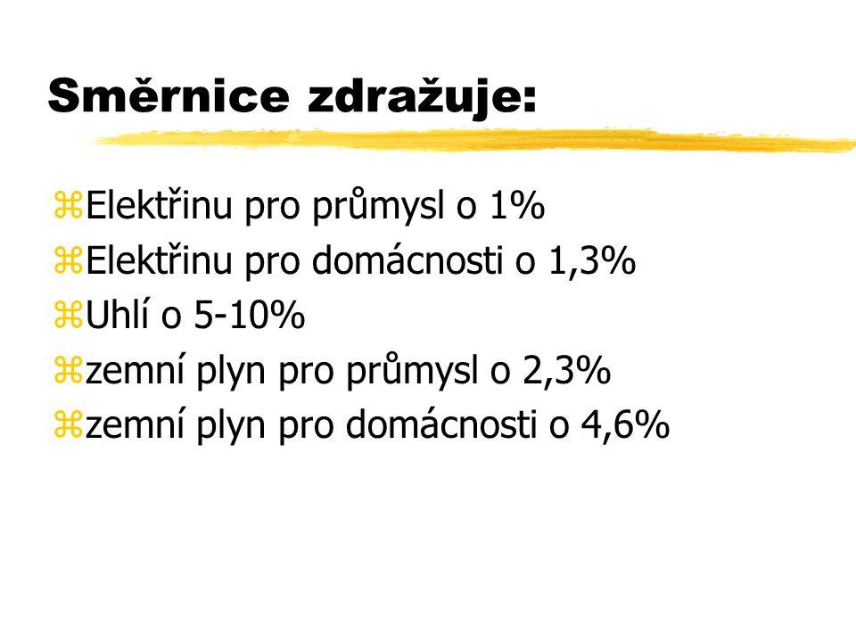 Směrnice zdražuje: zElektřinu pro průmysl o 1% zElektřinu pro domácnosti o 1,3% zUhlí o 5-10% zzemní plyn pro průmysl o 2,3% zzemní plyn pro domácnosti o 4,6%
