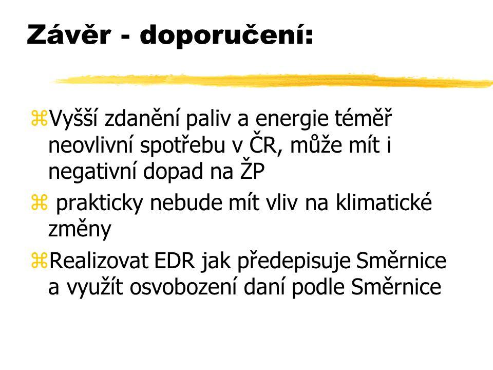 Závěr - doporučení: zVyšší zdanění paliv a energie téměř neovlivní spotřebu v ČR, může mít i negativní dopad na ŽP z prakticky nebude mít vliv na klimatické změny zRealizovat EDR jak předepisuje Směrnice a využít osvobození daní podle Směrnice
