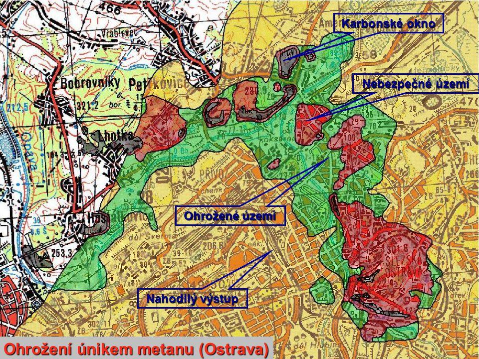 Karbonské okno Nebezpečné území Ohrožené území Nahodilý výstup Ohrožení únikem metanu (Ostrava)