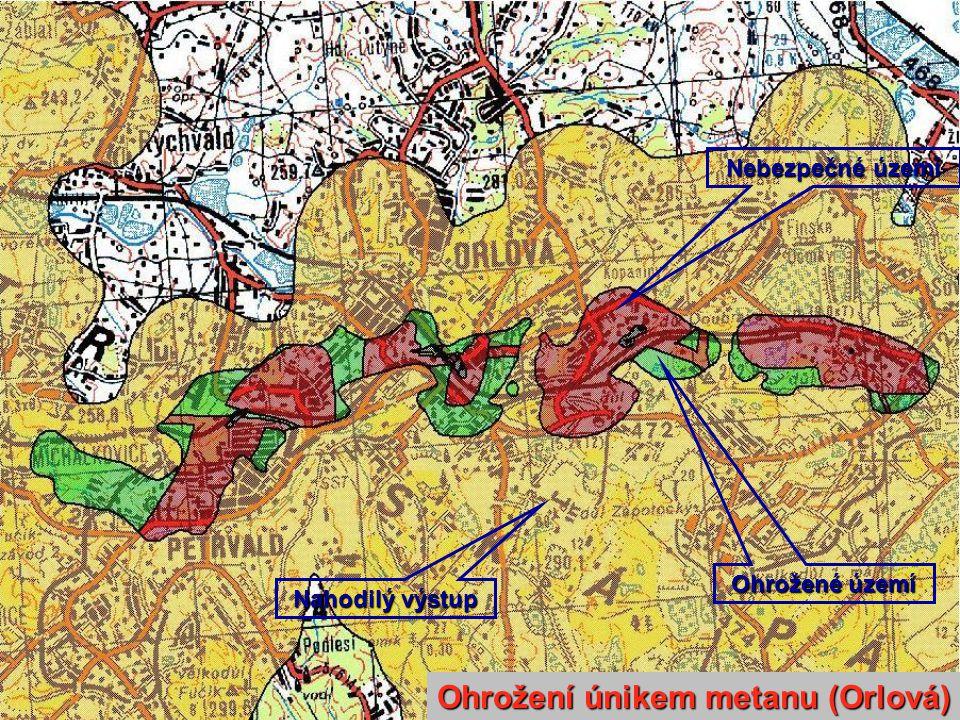 Nebezpečné území Ohrožené území Nahodilý výstup Ohrožení únikem metanu (Orlová)