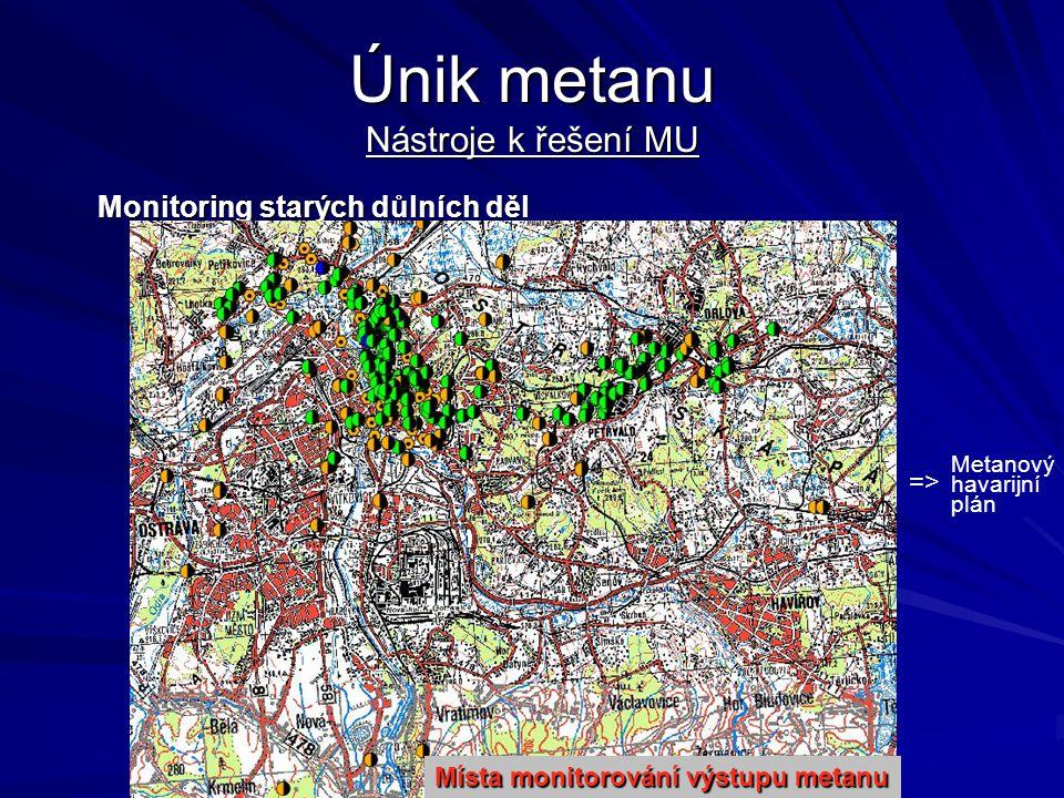 Únik metanu Nástroje k řešení MU Monitoring starých důlních děl =>=> Metanový havarijní plán Místa monitorování výstupu metanu