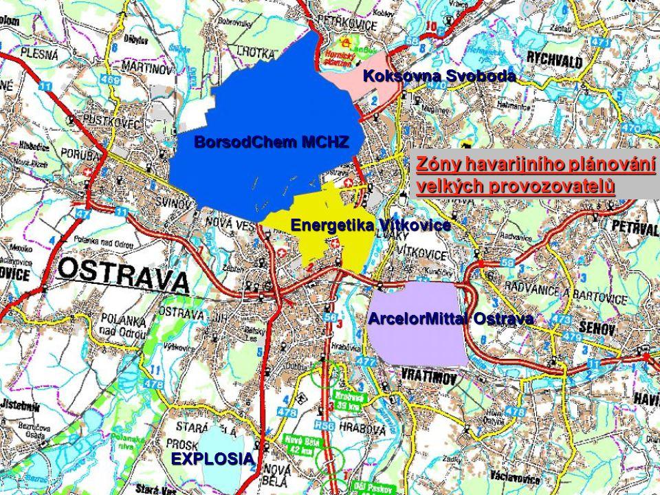 Koksovna Svoboda ArcelorMittal Ostrava EXPLOSIA Energetika Vítkovice BorsodChem MCHZ Zóny havarijního plánování velkých provozovatelů