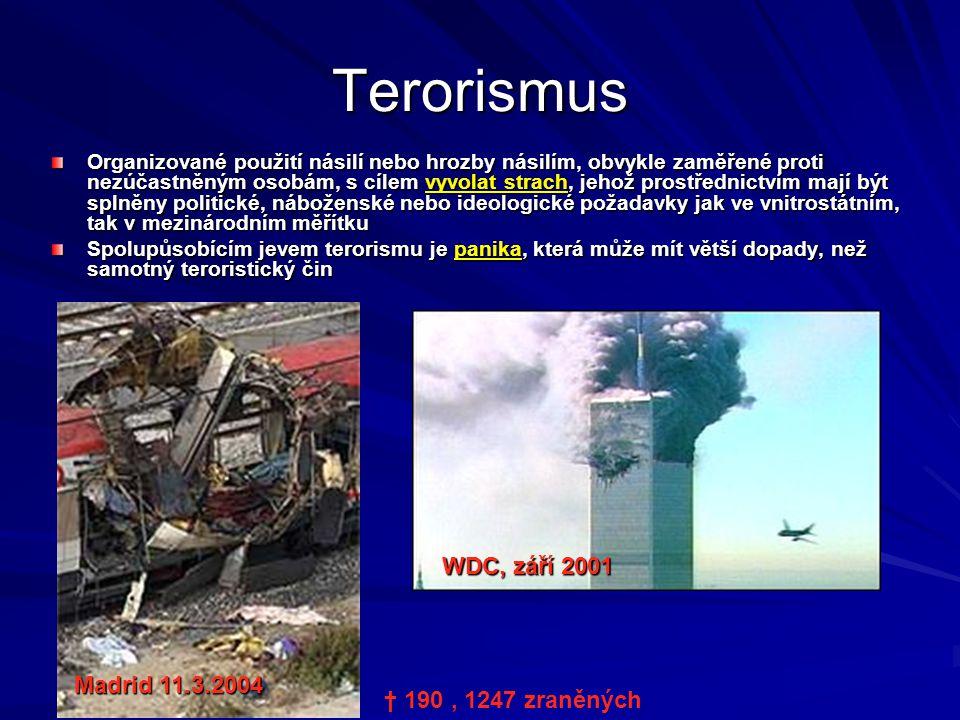 Terorismus Organizované použití násilí nebo hrozby násilím, obvykle zaměřené proti nezúčastněným osobám, s cílem vyvolat strach, jehož prostřednictvím