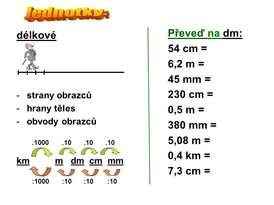 délkové -strany obrazců -hrany těles -obvody obrazců km m dm cm mm Převeď na dm: 54 cm = 6,2 m = 45 mm = 230 cm = 0,5 m = 380 mm = 5,08 m = 0,4 km = 7