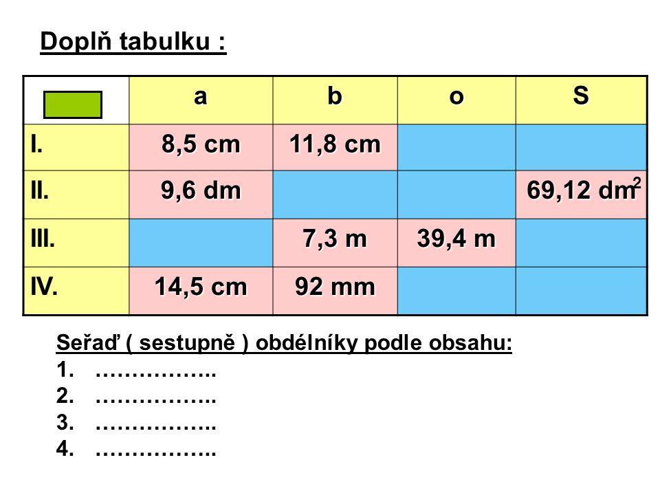 Doplň tabulku : Seřaď ( sestupně ) obdélníky podle obsahu: 1.…………….. 2.…………….. 3.…………….. 4.…………….. aboS I. 8,5 cm 11,8 cm II. 9,6 dm 69,12 dm III. 7,3