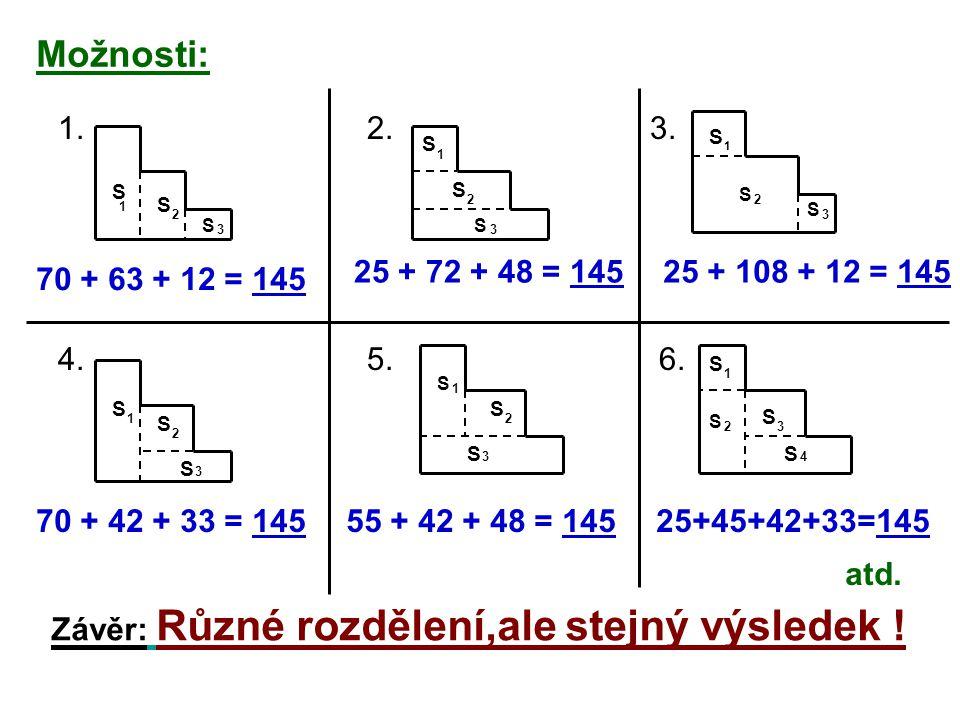 Možnosti: 1. 2. 3. 4. 5. 6. S S S 1 2 3 70 + 63 + 12 = 145 S S S 1 2 3 25 + 72 + 48 = 145 S S S 1 2 3 25 + 108 + 12 = 145 S S S 1 2 3 70 + 42 + 33 = 1