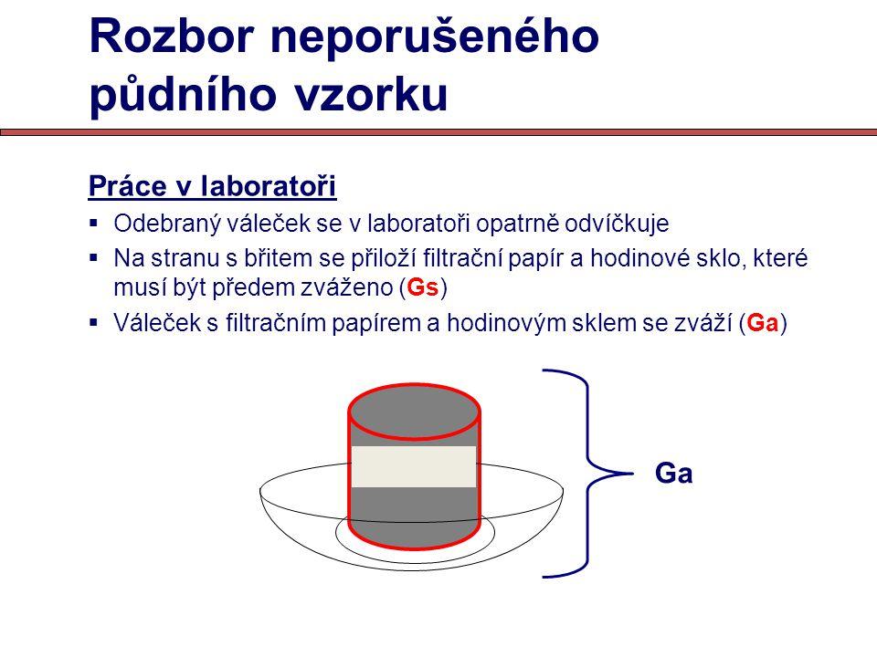 Rozbor neporušeného půdního vzorku Práce v laboratoři  Odebraný váleček se v laboratoři opatrně odvíčkuje  Na stranu s břitem se přiloží filtrační p