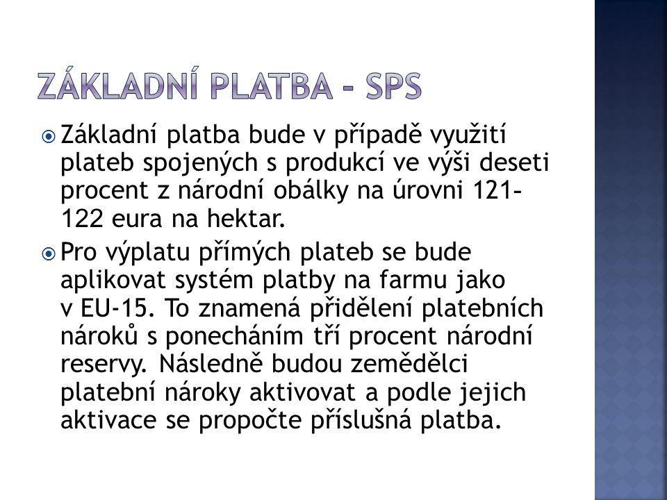  Základní platba bude v případě využití plateb spojených s produkcí ve výši deseti procent z národní obálky na úrovni 12 1- 122 eura na hektar.  Pro