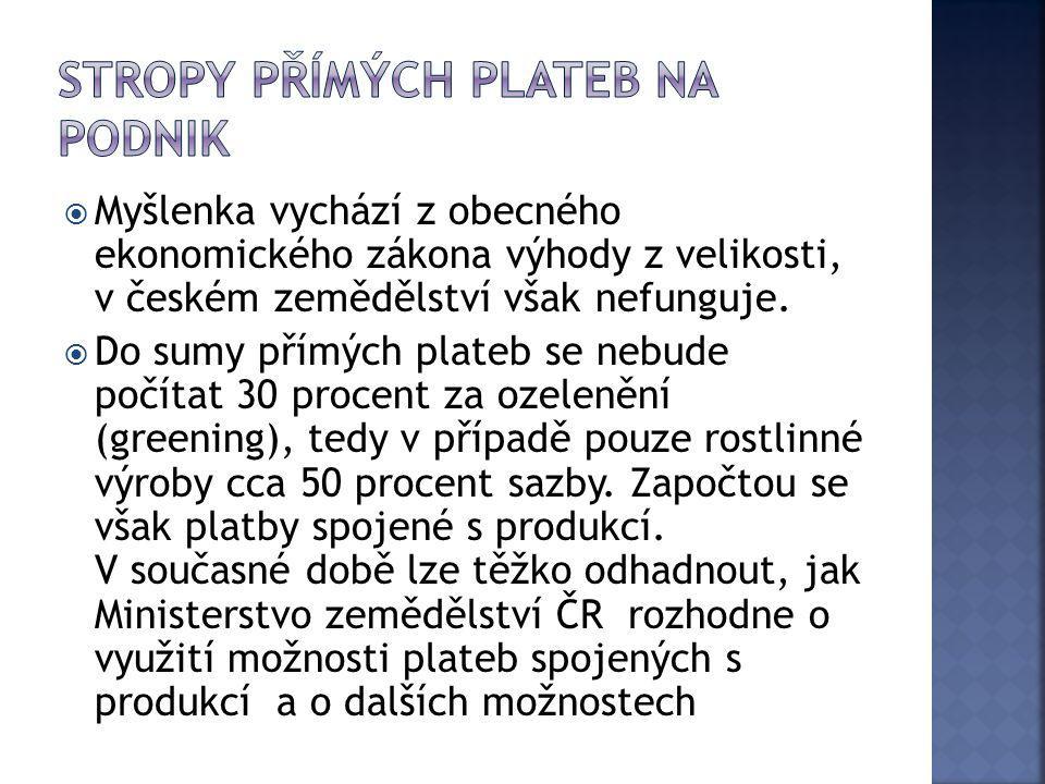  Myšlenka vychází z obecného ekonomického zákona výhody z velikosti, v českém zemědělství však nefunguje.  Do sumy přímých plateb se nebude počítat