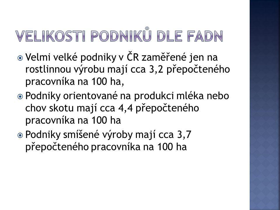  Velmi velké podniky v ČR zaměřené jen na rostlinnou výrobu mají cca 3,2 přepočteného pracovníka na 100 ha,  Podniky orientované na produkci mléka n