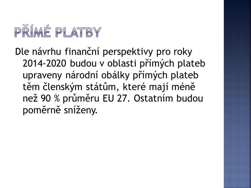 Dle návrhu finanční perspektivy pro roky 2014-2020 budou v oblasti přímých plateb upraveny národní obálky přímých plateb těm členským státům, které ma