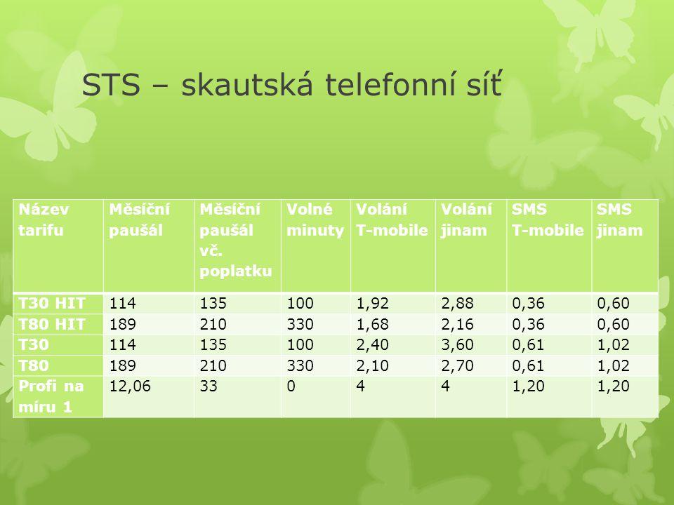 STS – skautská telefonní síť Název tarifu Měsíční paušál Měsíční paušál vč. poplatku Volné minuty Volání T-mobile Volání jinam SMS T-mobile SMS jinam