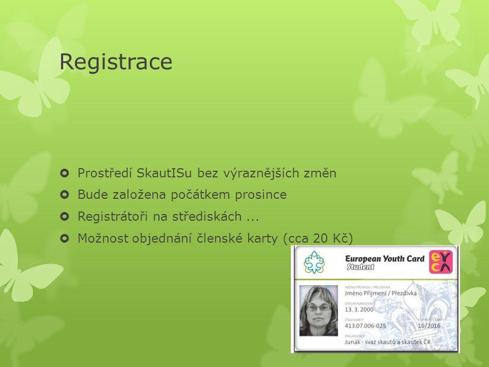 Registrace  Prostředí SkautISu bez výraznějších změn  Bude založena počátkem prosince  Registrátoři na střediskách...  Možnost objednání členské k