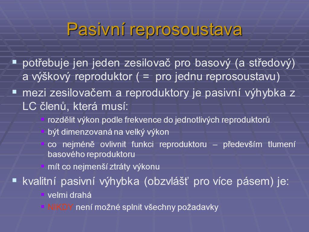 Pasivní reprosoustava  potřebuje jen jeden zesilovač pro basový (a středový) a výškový reproduktor ( = pro jednu reprosoustavu)  mezi zesilovačem a reproduktory je pasivní výhybka z LC členů, která musí:  rozdělit výkon podle frekvence do jednotlivých reproduktorů  být dimenzovaná na velký výkon  co nejméně ovlivnit funkci reproduktoru – především tlumení basového reproduktoru  mít co nejmenší ztráty výkonu  kvalitní pasivní výhybka (obzvlášť pro více pásem) je:  velmi drahá  NIKDY není možné splnit všechny požadavky