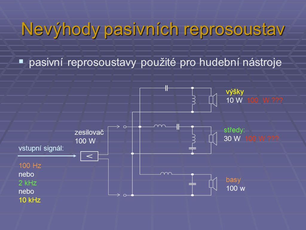 Nevýhody pasivních reprosoustav  pasivní reprosoustavy použité pro hudební nástroje výšky 10 W 100 W ??.