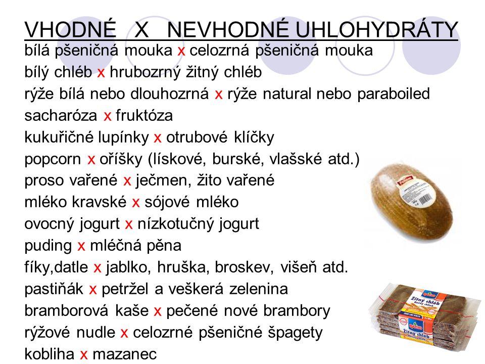 VHODNÉ X NEVHODNÉ UHLOHYDRÁTY bílá pšeničná mouka x celozrná pšeničná mouka bílý chléb x hrubozrný žitný chléb rýže bílá nebo dlouhozrná x rýže natural nebo paraboiled sacharóza x fruktóza kukuřičné lupínky x otrubové klíčky popcorn x oříšky (lískové, burské, vlašské atd.) proso vařené x ječmen, žito vařené mléko kravské x sójové mléko ovocný jogurt x nízkotučný jogurt puding x mléčná pěna fíky,datle x jablko, hruška, broskev, višeň atd.