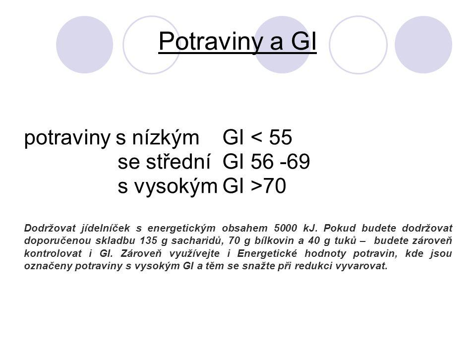 Potraviny a GI potraviny s nízkým GI < 55 se střední GI 56 -69 s vysokým GI >70 Dodržovat jídelníček s energetickým obsahem 5000 kJ.