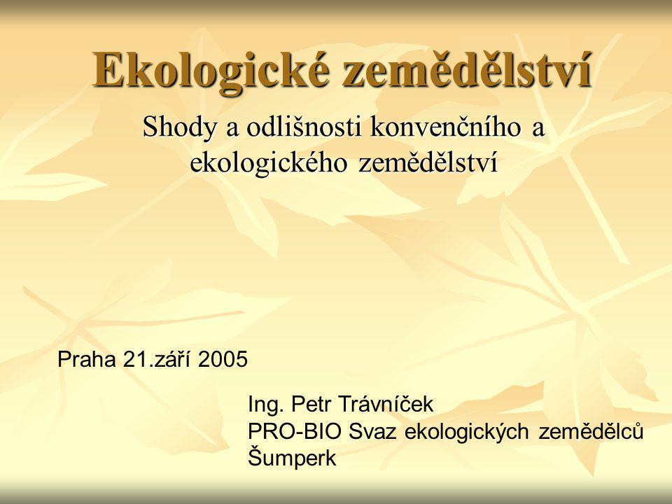 Ekologické zemědělství Shody a odlišnosti konvenčního a ekologického zemědělství Praha 21.září 2005 Ing. Petr Trávníček PRO-BIO Svaz ekologických země
