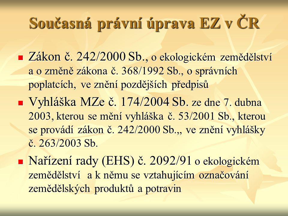 Současná právní úprava EZ v ČR Zákon č. 242/2000 Sb., o ekologickém zemědělství a o změně zákona č. 368/1992 Sb., o správních poplatcích, ve znění poz