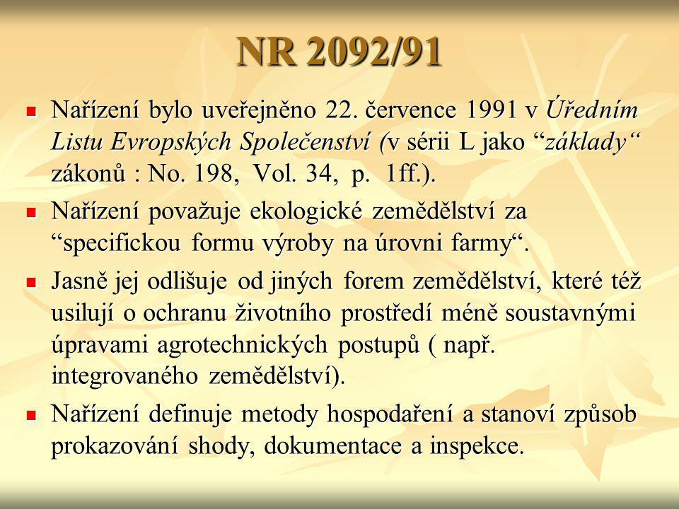 """NR 2092/91 Nařízení bylo uveřejněno 22. července 1991 v Úředním Listu Evropských Společenství (v sérii L jako """"základy"""" zákonů : No. 198, Vol. 34, p."""