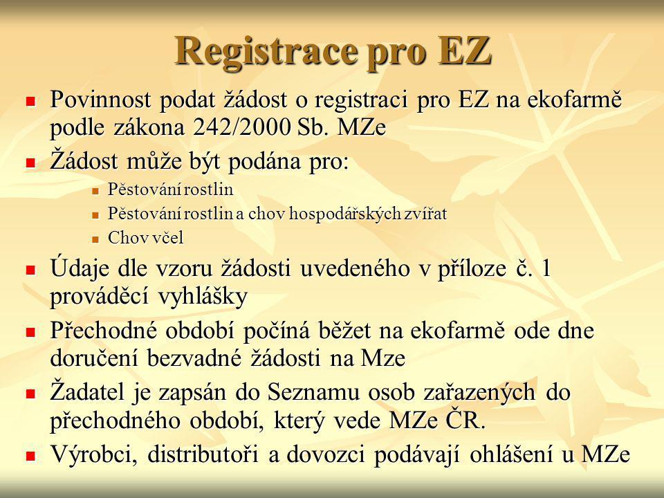 Registrace pro EZ Povinnost podat žádost o registraci pro EZ na ekofarmě podle zákona 242/2000 Sb. MZe Povinnost podat žádost o registraci pro EZ na e