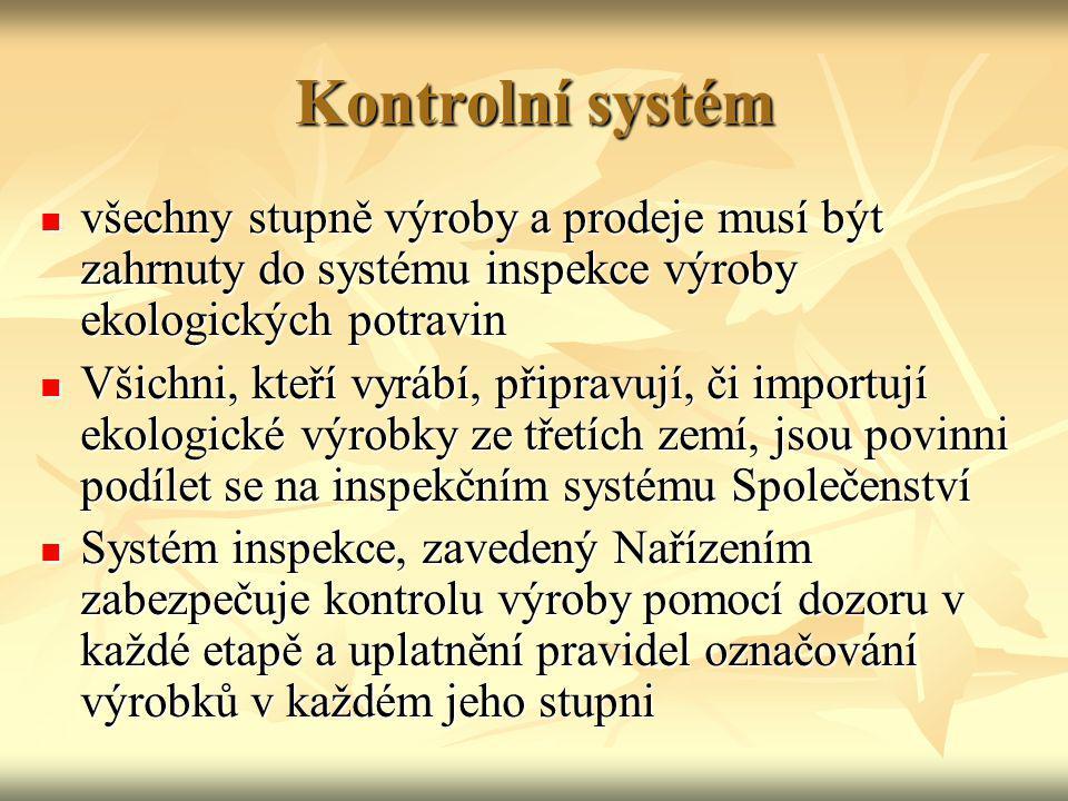 Kontrolní systém všechny stupně výroby a prodeje musí být zahrnuty do systému inspekce výroby ekologických potravin všechny stupně výroby a prodeje mu